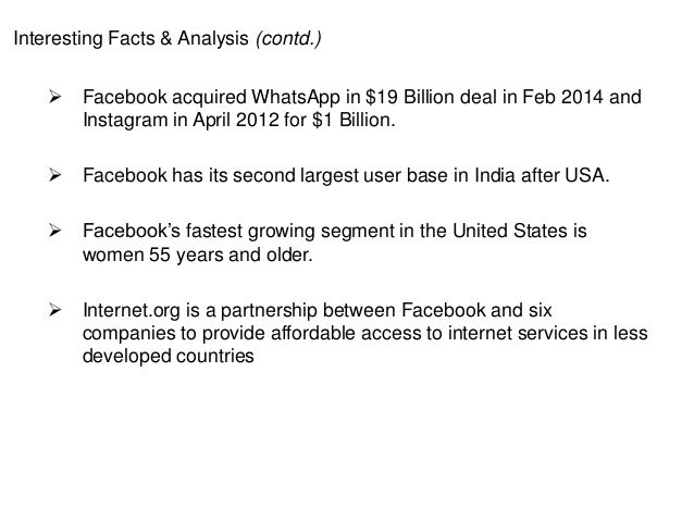Interesting Facts & Analysis (contd.)  Facebook acquired WhatsApp in $19 Billion deal in Feb 2014 and Instagram in April ...