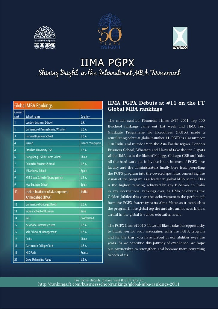 IIMA PGPX Debuts at #11 on the FTGlobal MBA Rankings                                                                     ...