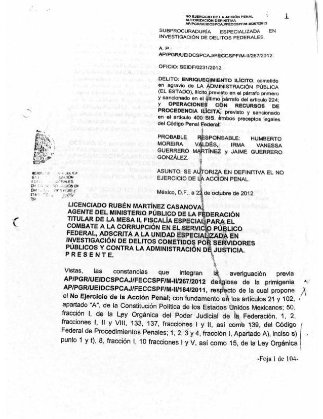 Documento de la PGR donde se exonera a Moreira
