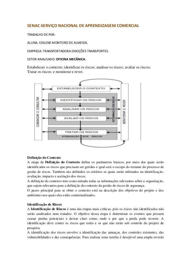 SENAC-SERVIÇO NACIONAL DE APRENDIZAGEM COMERCIAL TRABALHO DE PGR: ALUNA: EDILENE MONTEIRO DE ALMEIDA. EMPRESA: TRANSPORTAD...