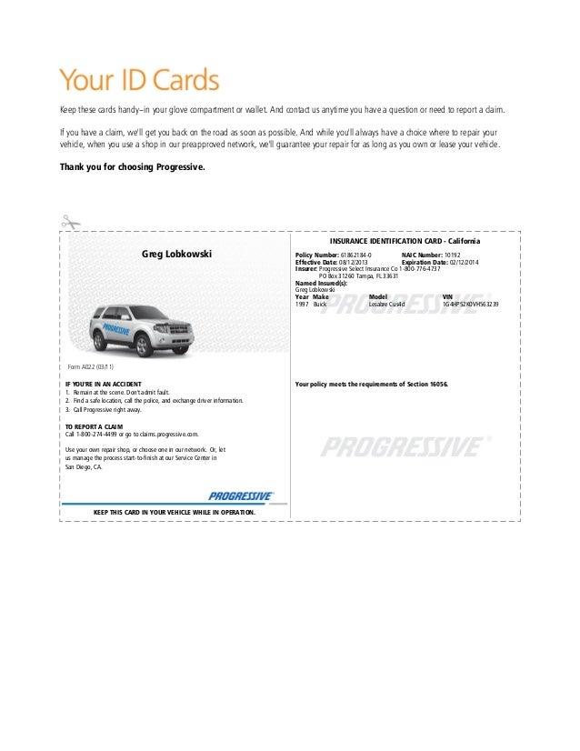 Progressive Auto Insurance Number >> Pgr insurance idcard