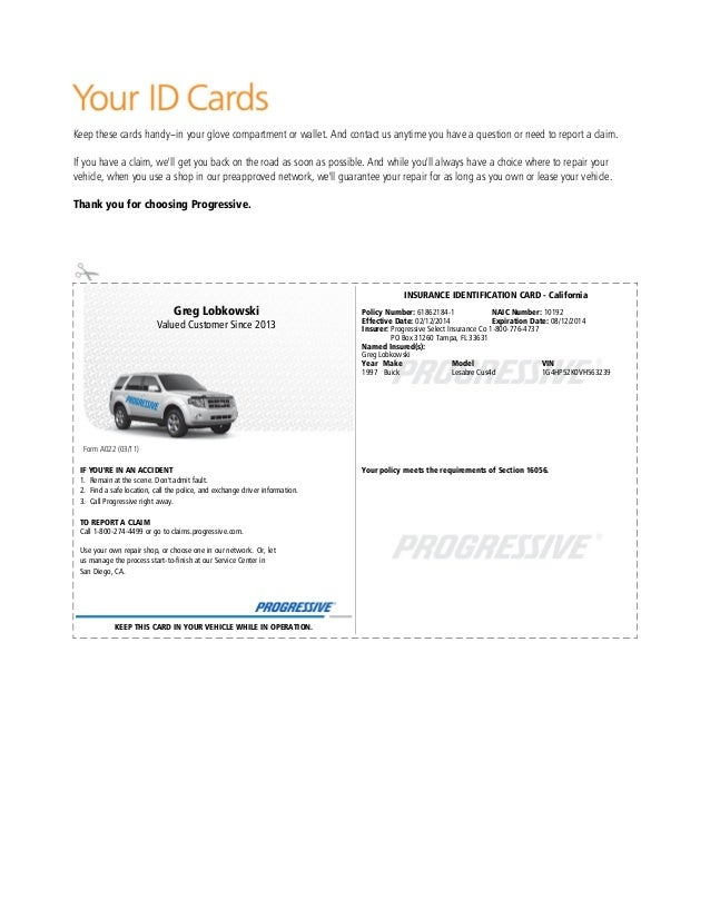 California Car Insurance Card Template PrintableCarPrintable