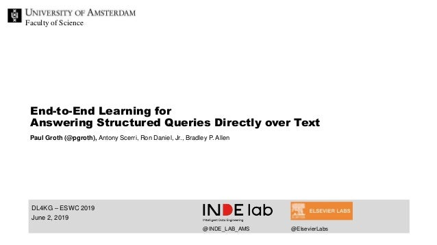 Faculty of Science DL4KG – ESWC 2019 June 2, 2019 End-to-End Learning for Answering Structured Queries Directly over Text ...