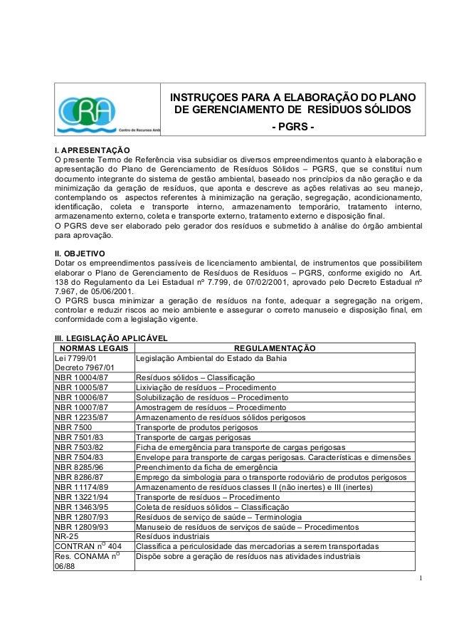 1 INSTRUÇOES PARA A ELABORAÇÃO DO PLANO DE GERENCIAMENTO DE RESÍDUOS SÓLIDOS - PGRS - I. APRESENTAÇÃO O presente Termo de ...