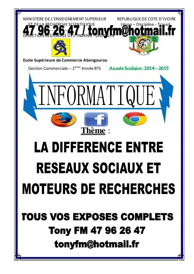MINISTERE DE L'ENSEIGNEMENT SUPERIEUR REPUBLIQUE DE COTE D'IVOIRE  ET DE LA RECHERCHE SCIENTIFIQUE Union – Discipline - Tr...