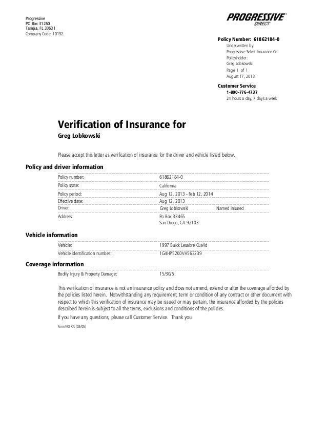 Pgr verificationof insurance