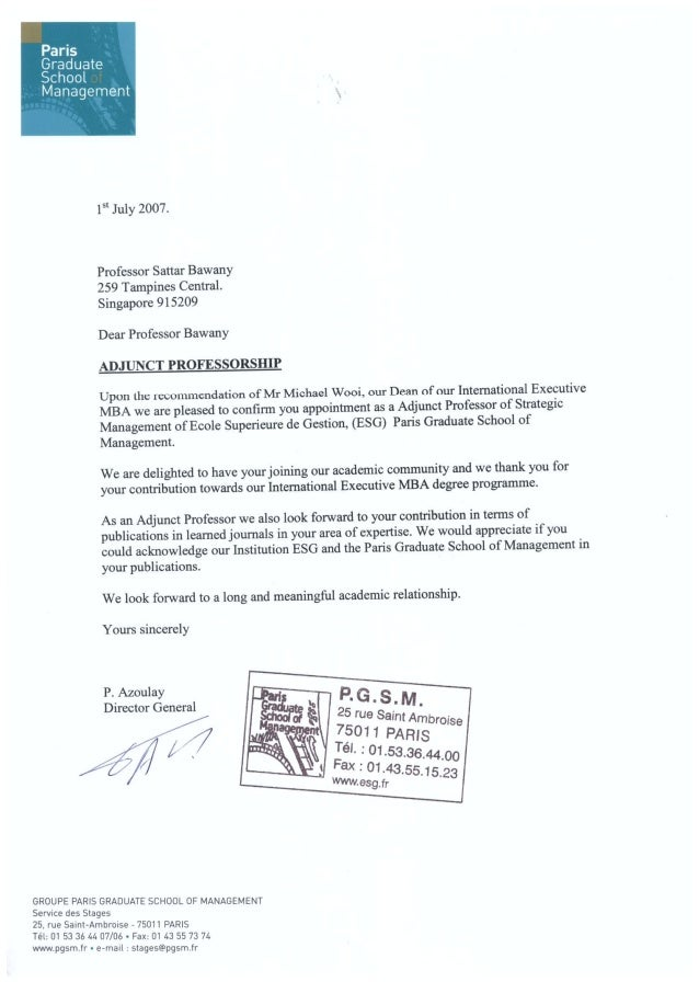 Prof Sattar Bawany's Appointment as Adjunct Professor of Strategy with PGSM 1st July 2007