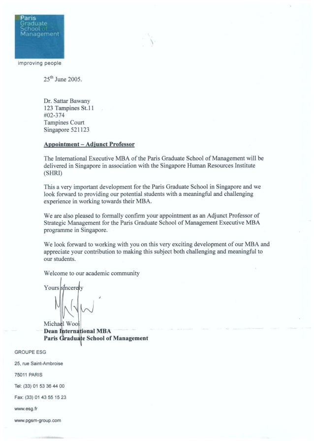 Prof Sattar Bawany's Appointment as Adjunct Professor of Strategy with PGSM 25th June 2005