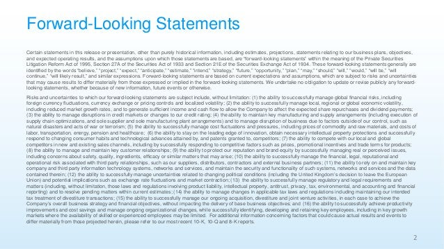 Forward-Looking Statements Certain statements in this release or presentation, other than purely historical information, i...