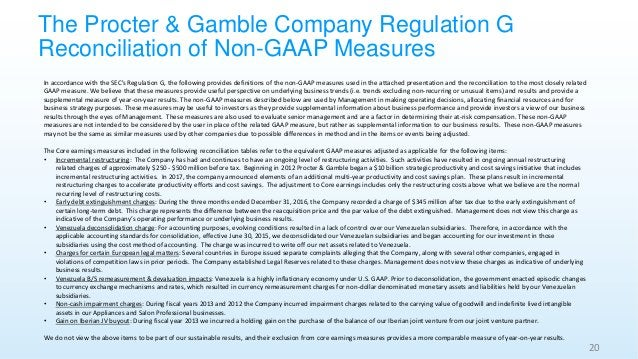The Procter & Gamble Company Regulation G Reconciliation of Non-GAAP Measures 20 In accordance with the SEC's Regulation G...