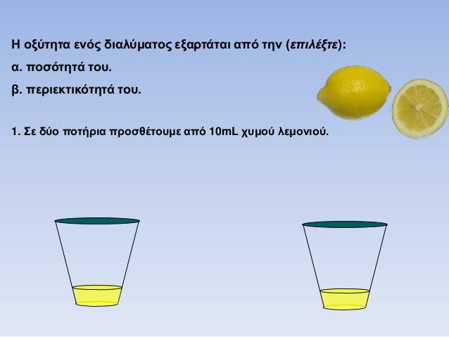 1. Σε δύο ποηήπια πποζθέηοςμε από 10mL σςμού λεμονιού. 2. Σηο ένα μόνο ποηήπι πποζθέηοςμε και 90mL νεπού. Ποιο διάλυμα είν...