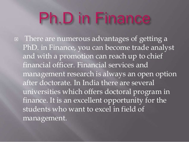 Phd in finance