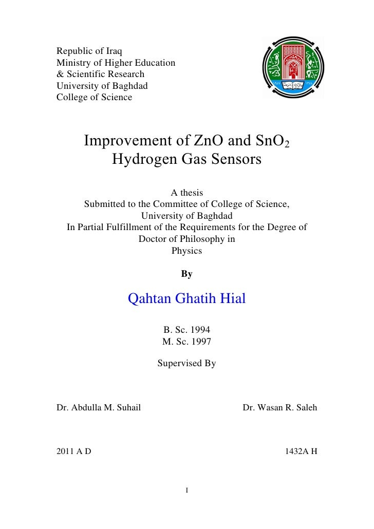 Republic of IraqMinistry of Higher Education& Scientific ResearchUniversity of BaghdadCollege of Science      Improvement ...