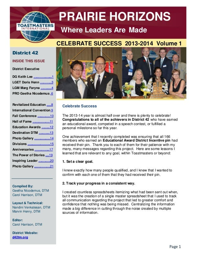 PRAIRIE HORIZONS Where Leaders Are Made CELEBRATE SUCCESS 2013-2014 Volume 1 District 42 INSIDE THIS ISSUE District Execut...