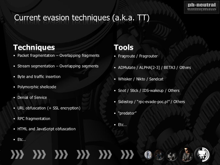 Current evasion techniques (a.k.a. TT)Techniques                                       Tools• Packet fragmentation – Overl...