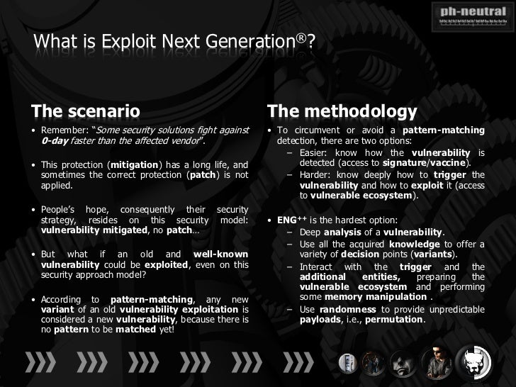 """What is Exploit Next Generation®?The scenario                                          The methodology• Remember: """"Some se..."""