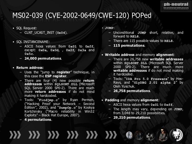 MS02-039 (CVE-2002-0649/CWE-120) POPed• SQL Request:                                    • JUMP:    – CLNT_UCAST_INST (0x04...