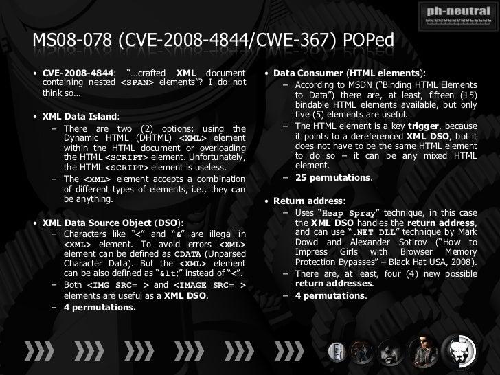 "MS08-078 (CVE-2008-4844/CWE-367) POPed• CVE-2008-4844: ""…crafted XML document                • Data Consumer (HTML element..."