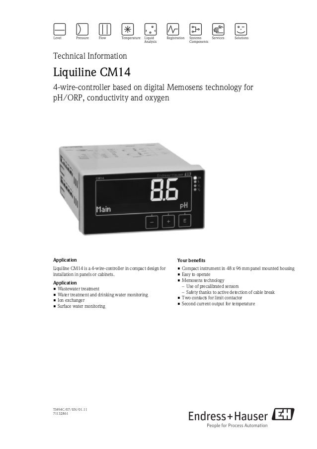 TI494C/07/EN/01.1171132861Technical InformationLiquiline CM144-wire-controller based on digital Memosens technology forpH/...