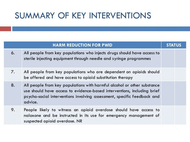 SUMMARY OF KEY INTERVENTIONS HARM REDUCTION FOR PWID STATUS 6. All people from key populations who injects drugs should ha...