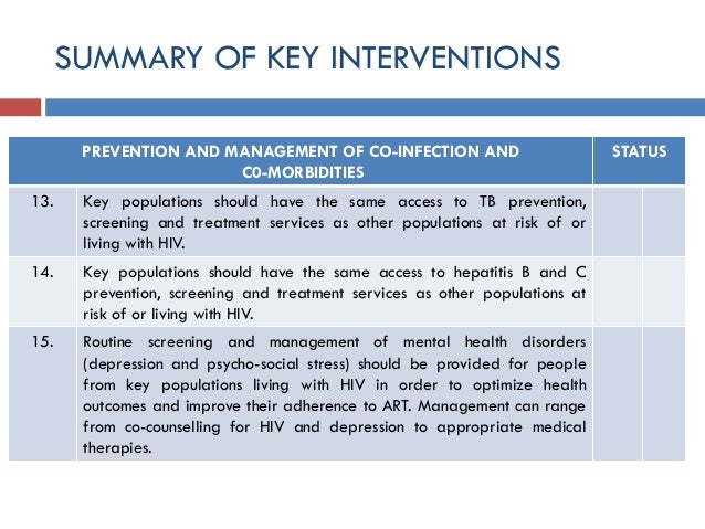 SUMMARY OF KEY INTERVENTIONS PREVENTION AND MANAGEMENT OF CO-INFECTION AND C0-MORBIDITIES STATUS 13. Key populations shoul...