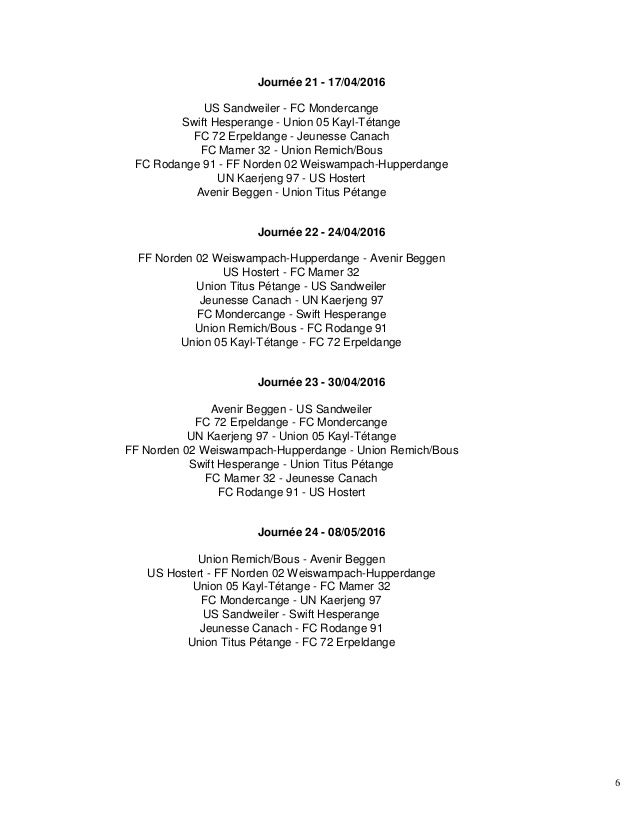 6 Journée 21 - 17/04/2016 US Sandweiler - FC Mondercange Swift Hesperange - Union 05 Kayl-Tétange FC 72 Erpeldange - Jeune...