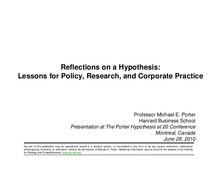 Michael Porter Keynote - The Porter Hypothesis at 20: Can Environmental Regulation Enhance Innovation and Competitiveness?...