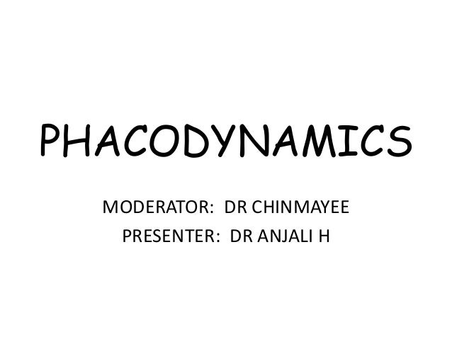 PHACODYNAMICS MODERATOR: DR CHINMAYEE PRESENTER: DR ANJALI H