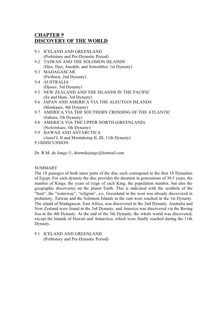CHAPTER 9DISCOVERY OF THE WORLD9.1 ICELAND AND GREENLAND    (Prehistory and Pre-Dynastic Period)9.2 TAIWAN AND THE SOLOMON...