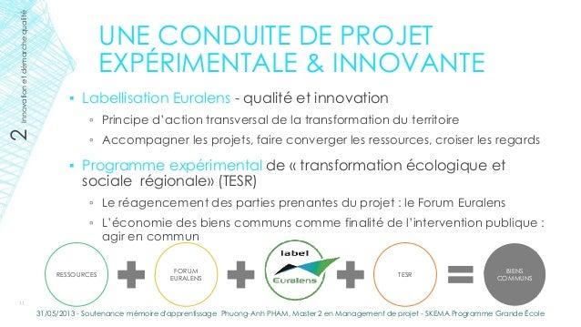 UNE CONDUITE DE PROJETEXPÉRIMENTALE & INNOVANTE▪ Labellisation Euralens - qualité et innovation▫ Principe d'action transve...