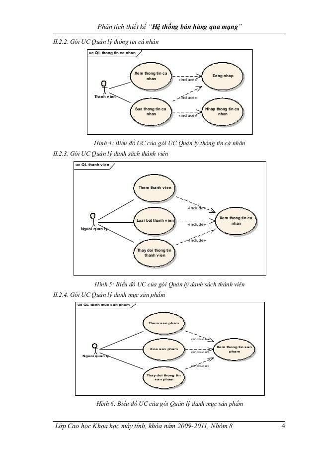 """Phân tích thiết kế """"Hệ thống bán hàng qua mạng"""" II.2.2. Gói UC Quản lý thông tin cá nhân uc QL thong tin ca nhan Xem thong..."""