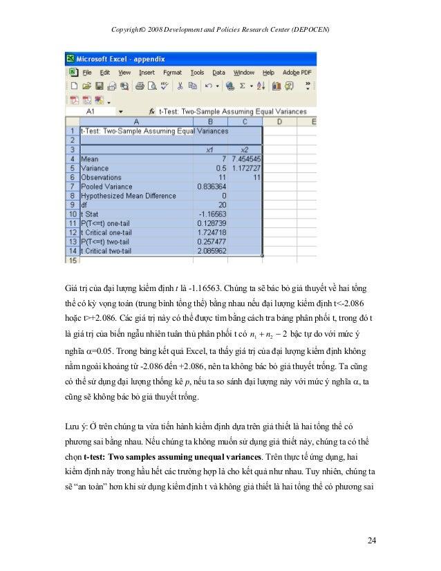 Copyright© 2008 Development and Policies Research Center (DEPOCEN) 24 Giá trị của đại lượng kiểm định t là -1.16563. Chúng...