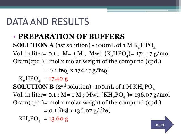 preparation of buffer and solution The calibration standards for the ph electrode will be a ph = 400 (red) buffer solution, a ph = 700 (yellow) buffer solution, and a ph = 1000 (blue).