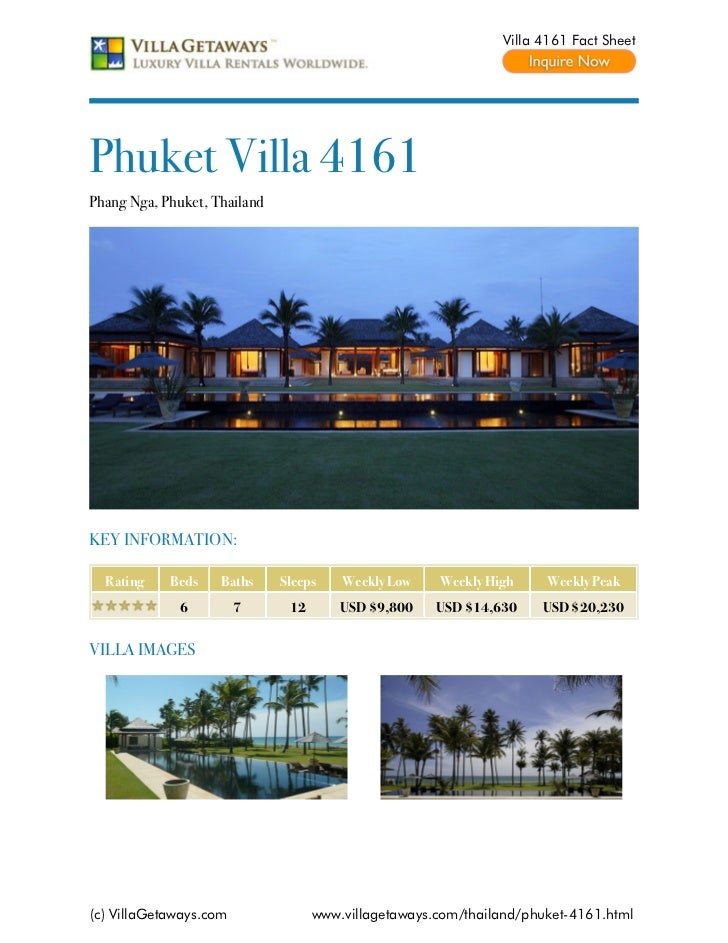 Villa 4161 Fact SheetPhuket Villa 4161Phang Nga, Phuket, ThailandKEY INFORMATION:  Rating    Beds    Baths     Sleeps    W...