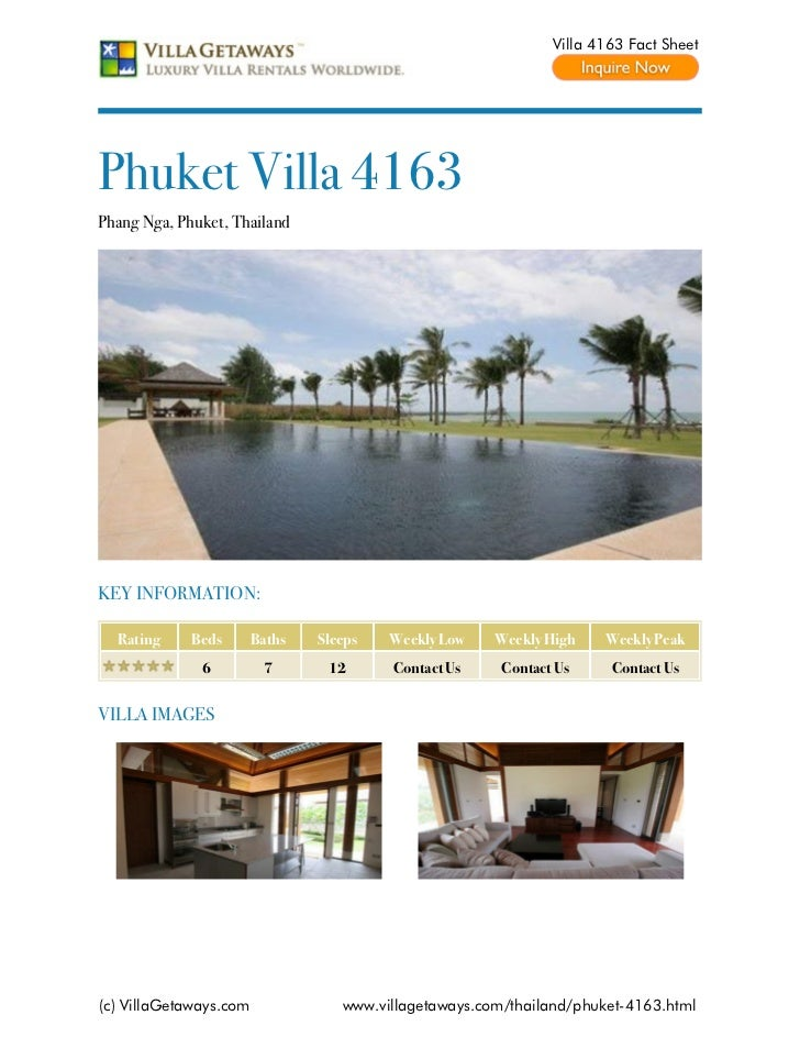 Villa 4163 Fact SheetPhuket Villa 4163Phang Nga, Phuket, ThailandKEY INFORMATION:  Rating     Beds       Baths   Sleeps   ...