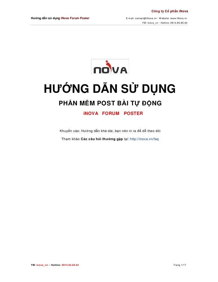 Công ty Cổ phần iNovaHướng dẫn sử dụng iNova Forum Poster                        E-mail: contact@iNova. vn - W ebsite: www...