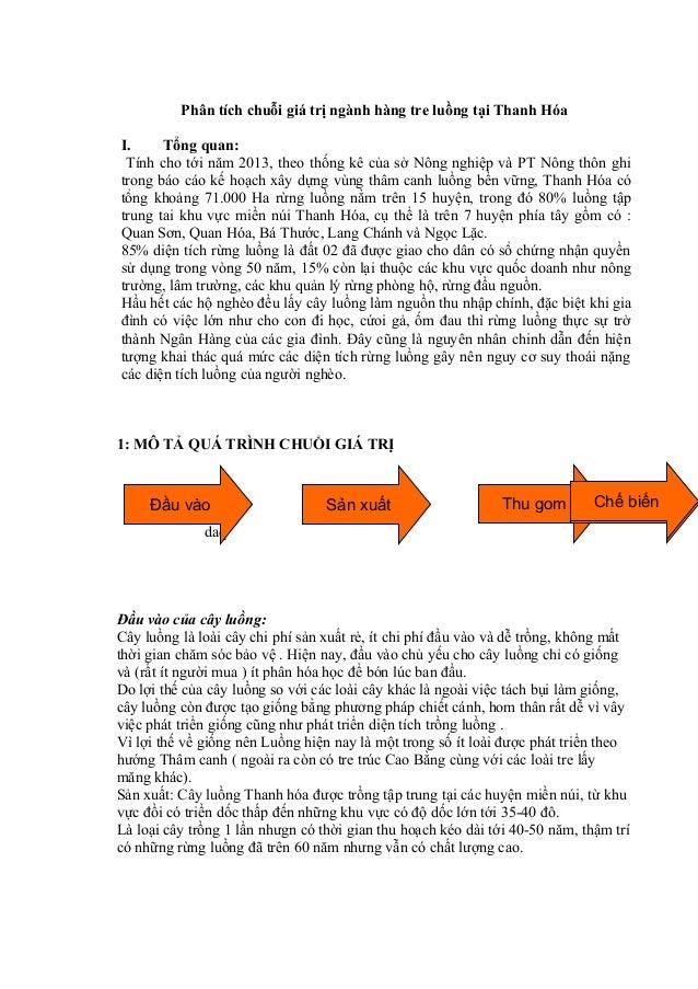 Phân tích chuỗi giá trị ngành hàng tre luồng tại Thanh Hóa I. Tổng quan: Tính cho tới năm 2013, theo thống kê của sở Nông ...