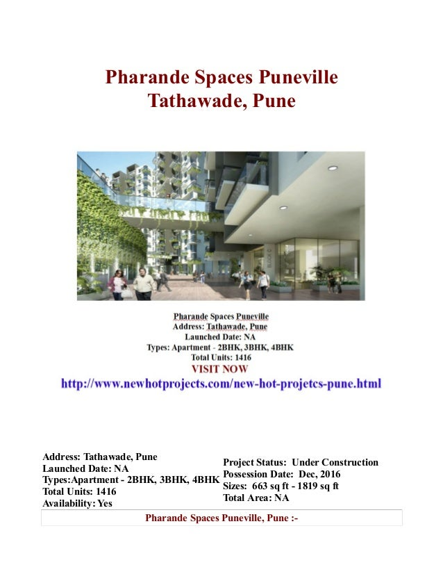 Pharande Spaces Puneville Tathawade, Pune  Address: Tathawade, Pune Project Status: Under Construction Launched Date: NA P...