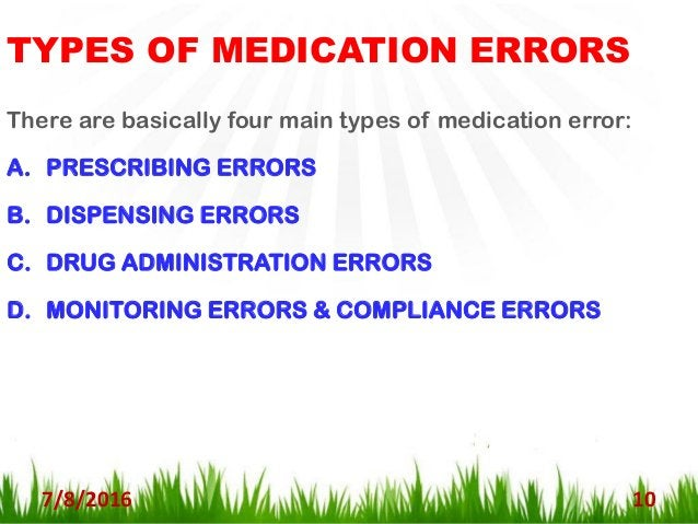 A. PRESCRIPTION ERRORS : 7/8/2016 11 - Most common type of medication errors. - Account for 80% of all medication mistakes...