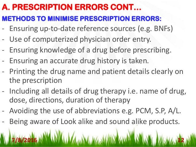 B. DISPENSING ERRORS 7/8/2016 13 - This error occur at any stage during the dispensing process (from the receipt of a pres...