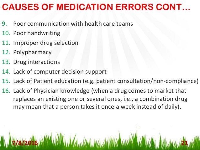 OTHER CAUSES OF MEDICATION ERRORS 7/8/2016 22 - Research according to Institute for Safe Medication Practices (ISMP) has i...