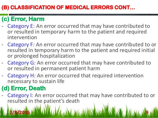 TYPES OF MEDICATION ERRORS 7/8/2016 10 There are basically four main types of medication error: A. PRESCRIBING ERRORS B. D...