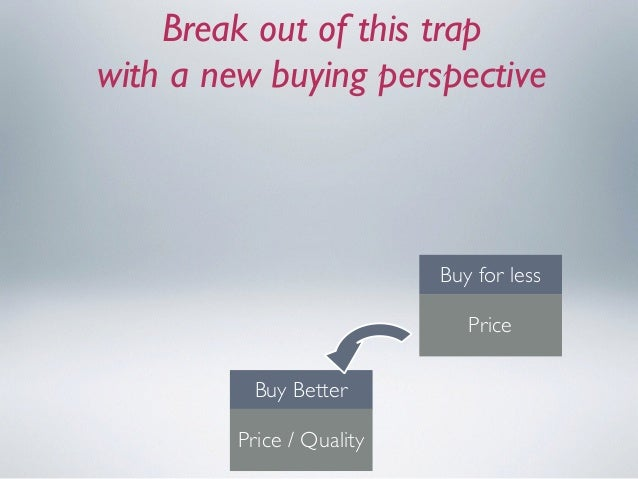 Break out of this trap  with a new buying perspective Buy Better Price / Quality Consume Better Customer Value Buy for le...