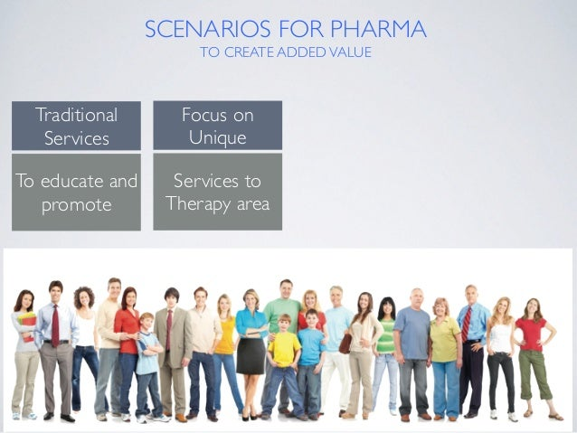 SCENARIOS FOR PHARMA TO CREATE ADDEDVALUE Traditional Services To educate and promote Focus on Unique Services to Therapy...