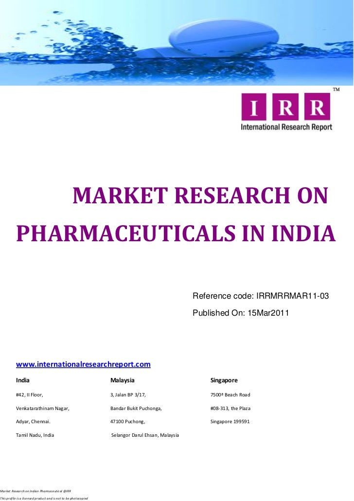 MARKET RESEARCH ON           PHARMACEUTICALS IN INDIA                                                                     ...
