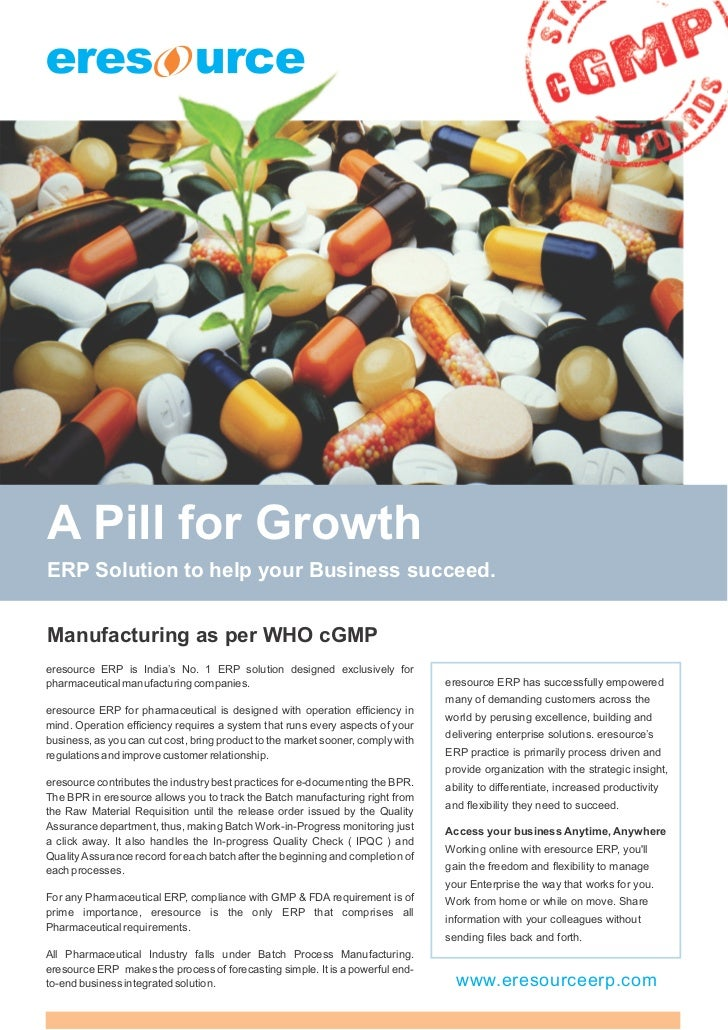 A Pill for GrowthERP Solution to help your Business succeed.Manufacturing as per WHO cGMPeresource ERP is India's No. 1 ER...