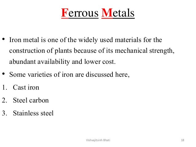 Ferrous Metals • Iron metal is one of the widely used materials for the construction of plants because of its mechanical s...