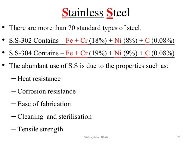 Stainless Steel • There are more than 70 standard types of steel. • S.S-302 Contains – Fe + Cr (18%) + Ni (8%) + C (0.08%)...