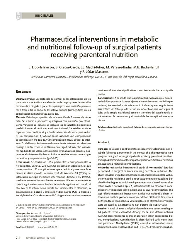 ORIGINALES  Pharmaceutical interventions in metabolic and nutritional follow-up of surgical patients receiving parenteral ...