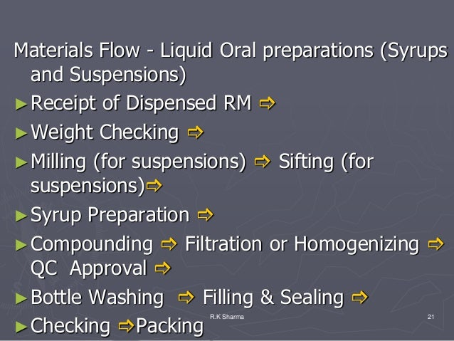 Materials Flow - Liquid Oral preparations (Syrups  and Suspensions)► Receipt of Dispensed RM ► Weight Checking ► Milling...